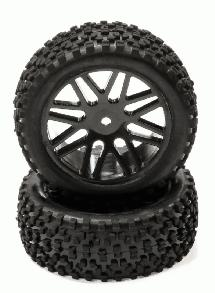 Pre-Mounted 1/10 Buggy 16 Spoke Front 32mm All Terrain Q4026 12mm Hex (OD 87mm)