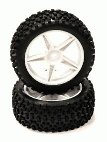Pre-Mounted 1/10 Buggy 5 Spoke Front 32mm All Terrain Q4024 12mm Hex (O.D. 87mm)