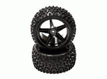 Pre-Mounted 1/10 Buggy 5 Spoke Rear 40mm All Terrain Q4025 12mm Hex (O.D. 87mm)