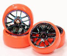 Rainbow Color Dual 6 Spoke Wheel + Red Drift Tire (4) Set (O.D. = 63mm)
