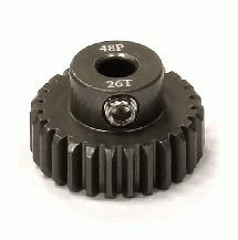 Billet Machined Hard Anodized Aluminum 48 Pitch Pinion 26 Teeth for 0.125 Shaft