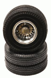 Billet Alloy Rear Wheel Type III+Tire Set for Tamiya 1/14 Scale Tractor Trucks