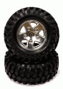 Billet Machined S5 Spoke 1.9 Size Wheel w/All Terrain T2 Tires for Scale Crawler