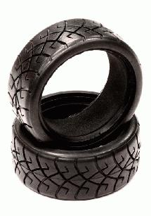 X-Type Patern Rubber Tires (2) w/ Insert for 1/10 Touring Car