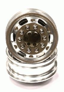 Billet Machined Alloy Front Wheel Type 12R Set (2) for Tamiya 1/14 Scale Trucks