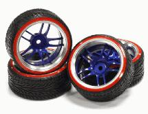 Billet Machined Alloy D5 Spoke Wheel +3 Offset + Drift Tire (4) Set (O.D.=64mm)