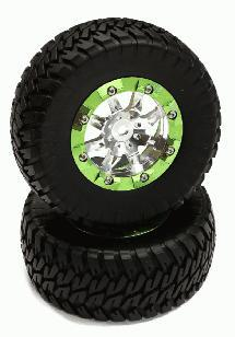 Billet Beadlock Wheels (2) w/ Pavement Tire for 1/10 Short Course (O.D.=110mm)
