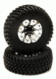 Billet Machined 8 Spoke AQ 1.9 Wheel & Tire (2) for Scale Crawler (O.D.=100mm)
