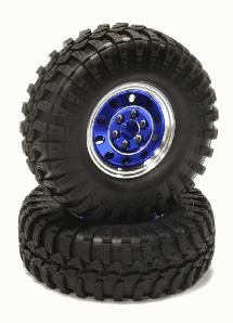 High Mass 1.9 Size Alloy 10H Beadlock Wheel & Tire for Scale Crawler(O.D.=106mm)