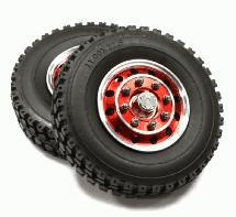 Billet Machined Alloy T4 Front Wheel & XA Tire Set for Tamiya 1/14 Scale Tractor