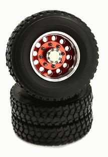 Billet Machined Alloy T4 Rear Wheel & XA Tire Set for Tamiya 1/14 Scale Tractor
