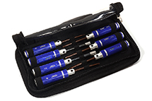 7pcs Mini Tool Set, 1.5, 2.0, 2.5mm Allen + 4.0, 5.5 Socket + Screw Driver Tips
