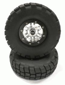 Billet Machined 6D Spoke 1.9 Size Wheel & Tire (2) for Scale Crawler (OD=106mm)