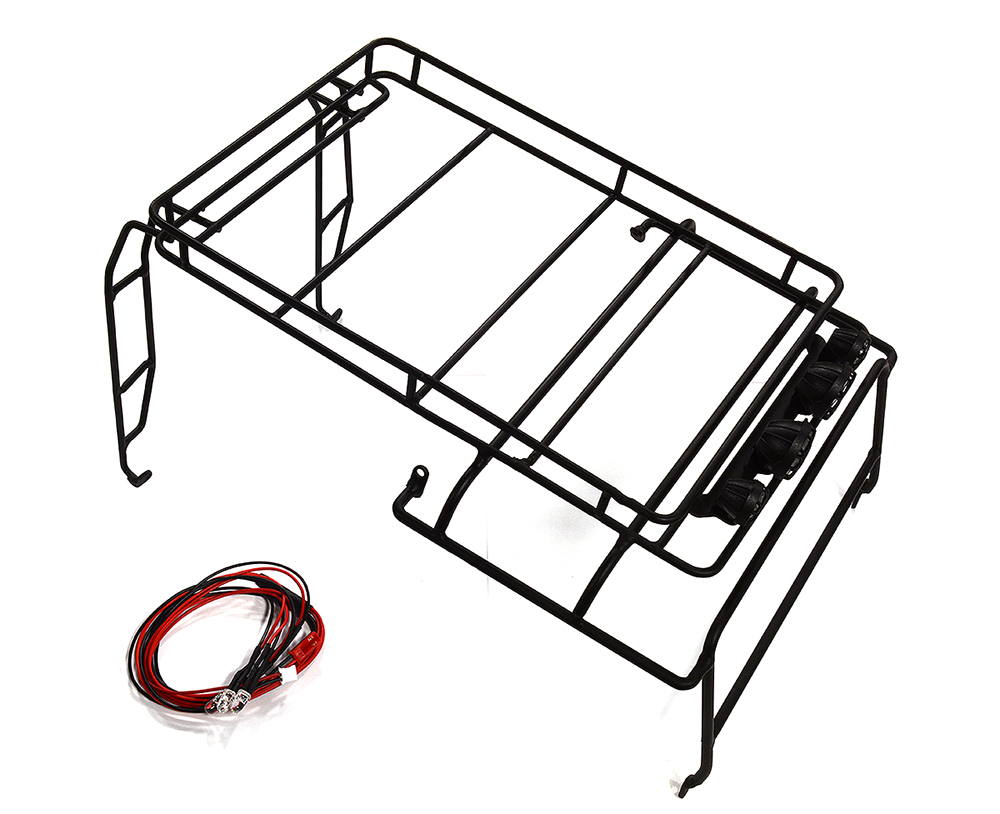 C25447SILVER Realistic Outer Roll Cage w//LED Spot Lights for 1//10 D90 Scale Body