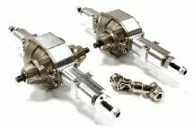 Billet Machined T2 Mid+Rear Combo Axle Setup for Custom 1/14 Semi-Tractor Truck