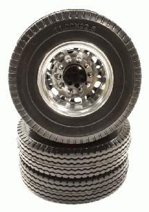 Billet Machined Alloy Rear Wheel 12R +Tire for Tamiya 1/14 Scale Tractor Trucks