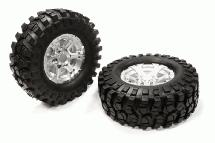Billet Machined 6 Spoke Type XH Off-Road 1.9 Size Wheel & Tire (2) (O.D.=106mm)