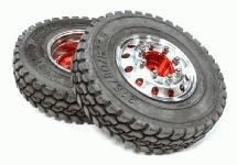 Alloy T4 Front Wheel & T1 Tire Set for Hex Type 1/14 Scale Tractor Trucks