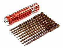 QuickPit 9pcs Set, Phillips+Flat+Hex Tip Set (0.05 1.5 1/16 5/64 2.5 3/32 3.0)