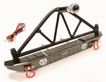 Realistic Metal Rear Bumper with Spare Tire Rack & LED for SCX-10 43mm Mount