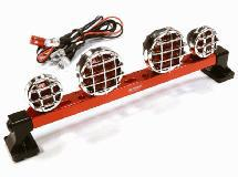 Billet Machined T6 Realistic Roof Top Red Color Spot Light (4) w/ LED
