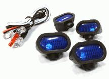 Realistic Blue Color Spot Light (4) w/ LED, Plastic Housing for 1/10 & 1/8 Scale