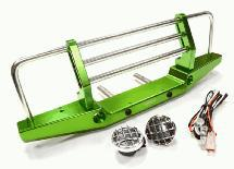 Realistic Metal Front Bumper with LED for Axial SCX-10 43mm Mount