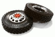 Machined Alloy T5 Front Wheel & XC Tire Set for Tamiya 1/14 Scale Tractor Trucks