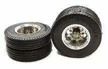 Machined Alloy T5 Rear Dually Wheel & XE Tire for Tamiya 1/14 Scale Trucks