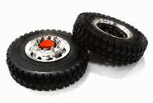 Machined Alloy T6 Front Wheel & XD Tire Set for Tamiya 1/14 Scale Tractor Trucks