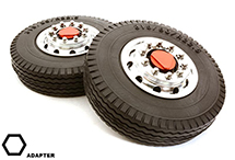 Machined Alloy T6 Front Wheel & XE Tire Set for Hex Type 1/14 Scale Trucks