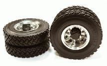 Machined Alloy T6 Rear Dually Wheel & XC Tire for Tamiya 1/14 Scale Trucks