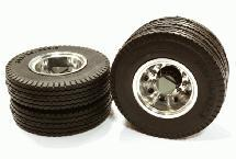 Machined Alloy T6 Rear Dually Wheel & XE Tire for Tamiya 1/14 Scale Trucks