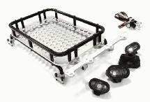 Realistic 1/10 Scale Alloy Luggage Tray 154x98x33mm with 4 LED Spot Light Set
