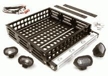Realistic 1/10 Scale Alloy Luggage Tray 124x107x24mm with 4 LED Spot Light Set