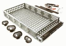 Realistic 1/10 Scale Alloy Luggage Tray 192x107x24mm with 4 LED Spot Light Set