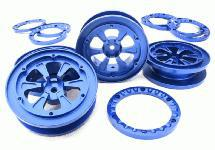 1.9 Size Billet Machined Alloy Wheel (4) w/Beadlock Rings for 1/10 Scale Crawler