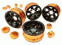 Billet Machined 6 Spoke Wheels w/ 6 Bolt S-Adapters for Most 1.9 Scale Crawler