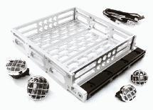 Realistic 1/10 Scale Alloy Luggage Tray 125x106x24mm with 4 LED Spot Light Set