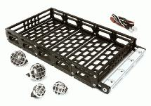 Realistic 1/10 Scale Alloy Luggage Tray 192x106x24mm with 4 LED Spot Light Set