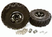 2.2x1.5-in. High Mass Alloy Wheel, Tires & 14mm Offset Hubs for 1/10 Crawler