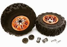 2.2x1.75-in. High Mass Alloy Wheel, Tires & 14mm Offset Hubs for 1/10 Crawler