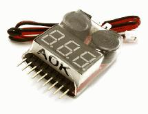 AOK 5in1 1-8S LiPo Voltage & Temperature Checker + Warning Buzzer