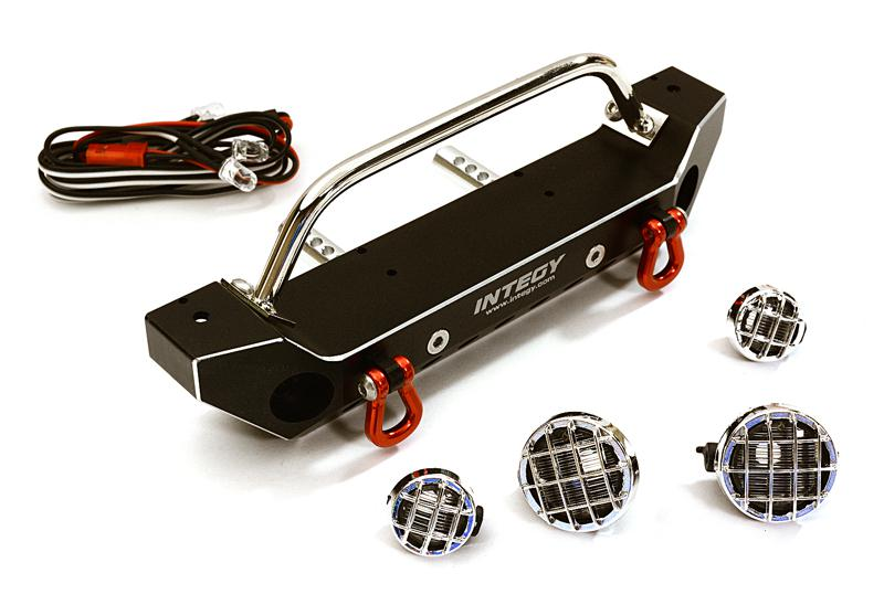 Realistic Alloy Machined Scale Front Bumper w/LED Lights for Axial 1/10 SCX10 II