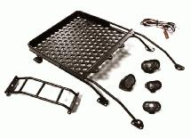 Realistic Alloy Luggage Tray w/LED Spot Lights for 1/10 FJ Cruiser (HPI, Tamiya)