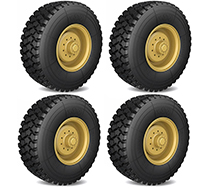 Tire & Wheels (2) for HG-P802 8X8 RC Military Truck