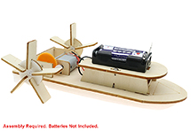 Wooden DIY Education Battery Powered Toy Paddle Steamer Boat Model