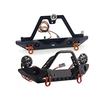 Realistic 1/10 Front & Rear Bumper w/ LED Lights for Traxxas TRX-4 & SCX-10