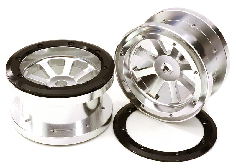 CNC Machined Alloy 8 Spoke Beadlock 2.2 Wheels (2) for Axial Ridgecrest & Wraith