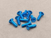 3 x 10mm Machine Type 7075-T6 Countersunk Hex Screw (Blue 10 Pcs)
